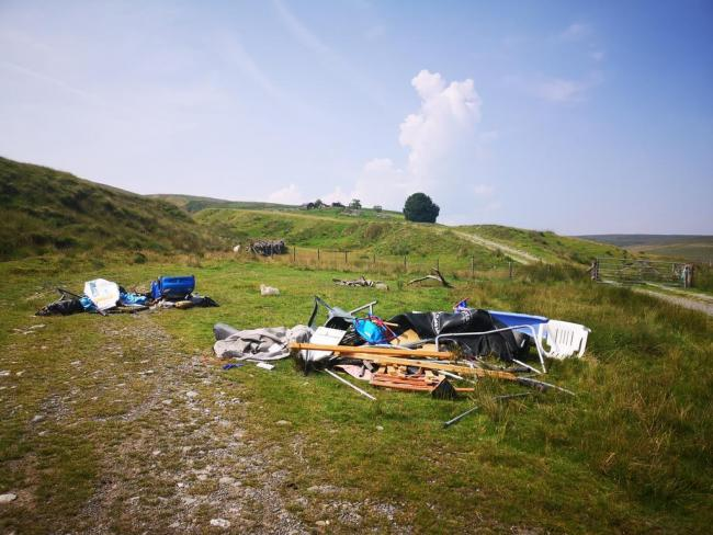 Fly tipping in the Elan Valley. Pic by Sorcha Lewis.