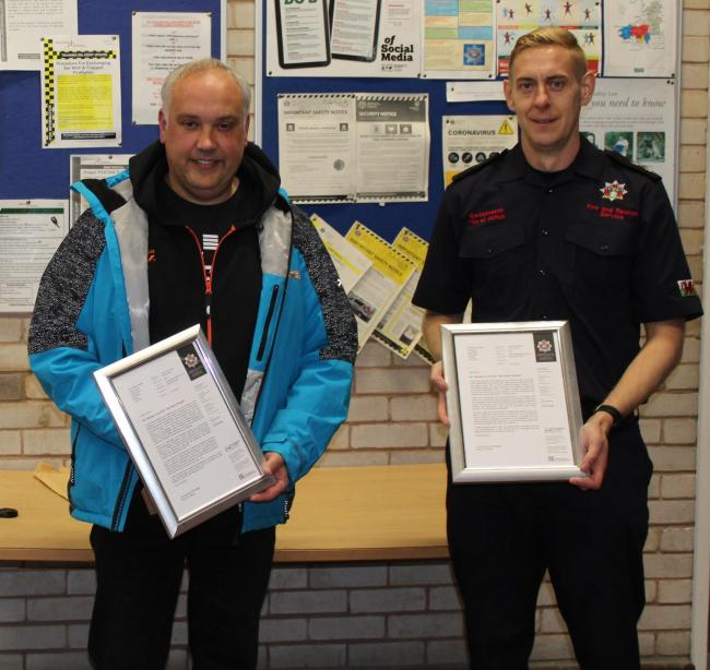 Heroes: Firefighters Andrew James and Rhys Thomas.