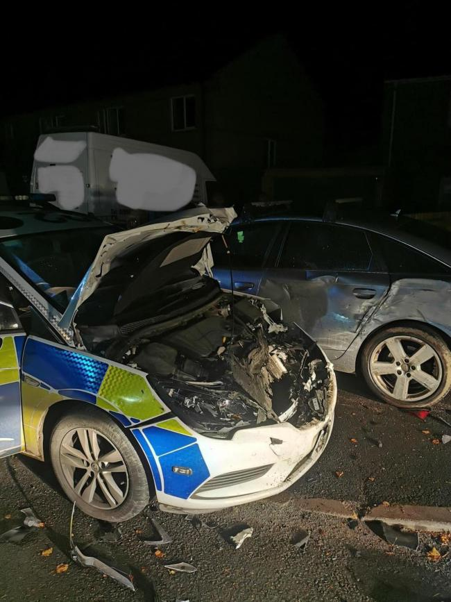 The police car involved in a crash this morning. Picture: HWFire Leominster