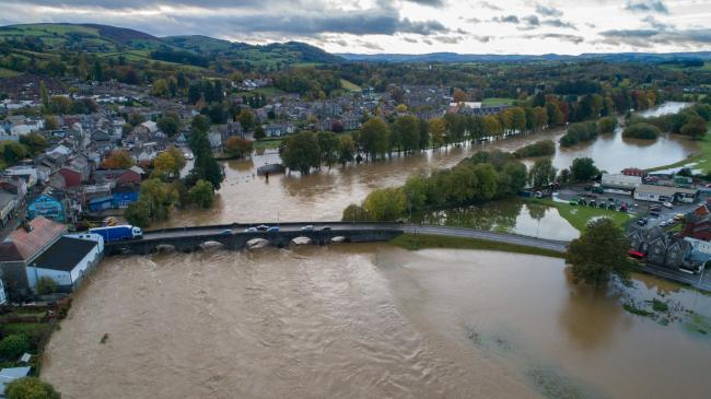 Tremio Aerial Photography captures images of the extent of flooding in Builth Wells.