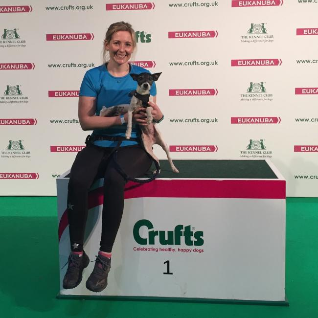 Lauren Rees, pictured here with Muffin at a canicross demonstration at Crufts.