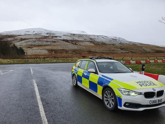 Undated handout photo issued by Dyfed-Powys Police of police presence in the Brecon Beacons, after people were reminded to adhere to Welsh Government lockdown restrictions.