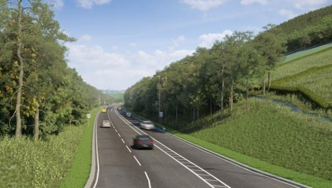 Artist impression driver view A470 northbound near Llanidloes roundabout. Picture: Welsh Government