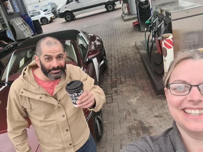 Top Gear presenter Chris Harris with Lisa Crowther-James in Llanidloes.