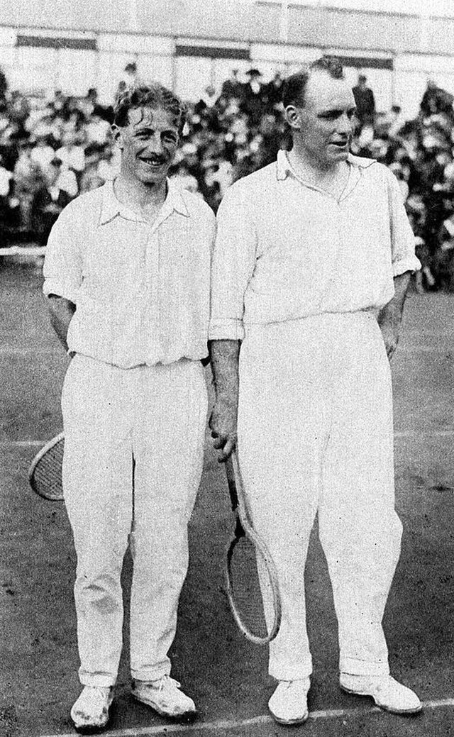Noel Turnbull and Max Woosnam (r), of Great Britain, gold medal winners in the mens doubles at the 1920 Olympic Games in Belgium