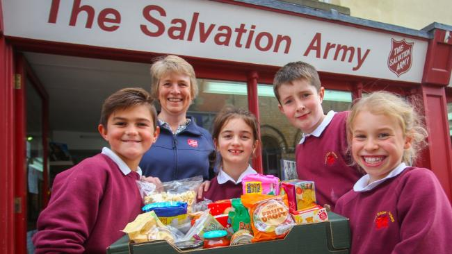 Salvation Army Food Bank Get Donation From Schoolchildren