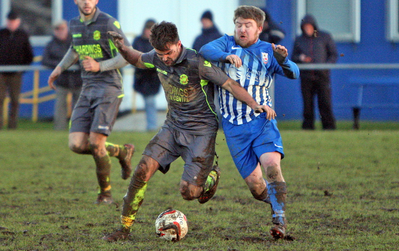 Callum Bromley in action for Guilsfield at Holyhead. Picture: Richard Birch