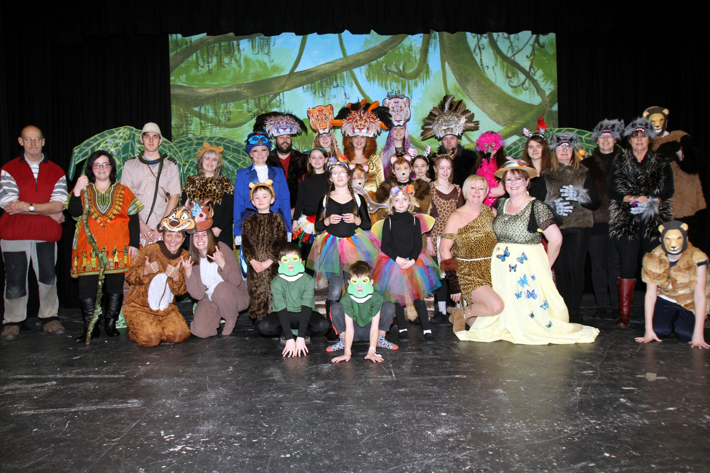 "The Rhayader Players cast and crewgetting ready for opening night with their brand new pantomime ""Simba"". Picture: Dave Woods"