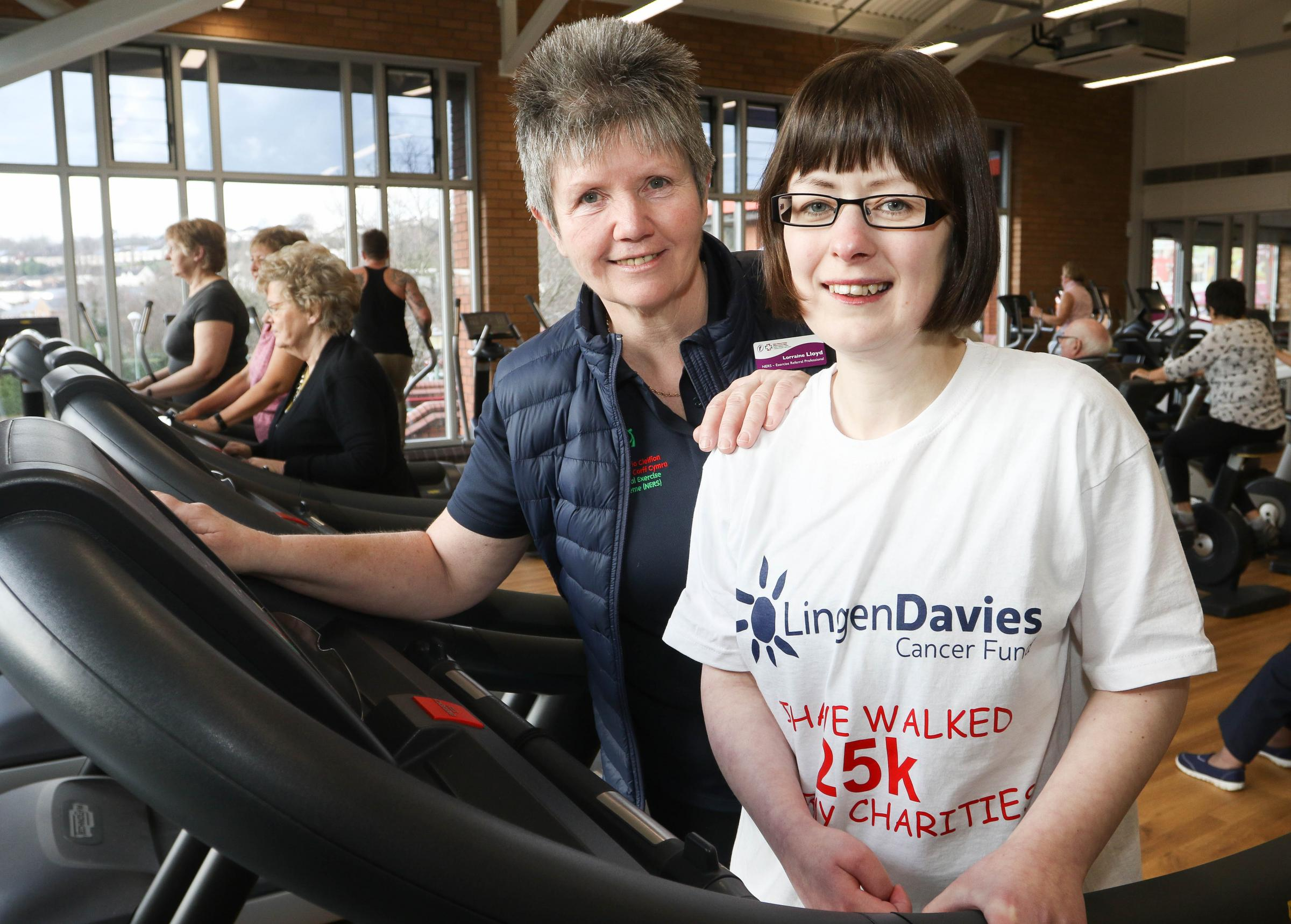 PB067-2018-4.Laura Wilkin has raised over £1,000 for the Lingen Davies Unit and The Neurological Unit in Stoke from her 25K charity walk at the Flash Leisure Centre, Welshpool with the help of her Exercise Referral Professional Lorraine Lloyd (BEM).Pic
