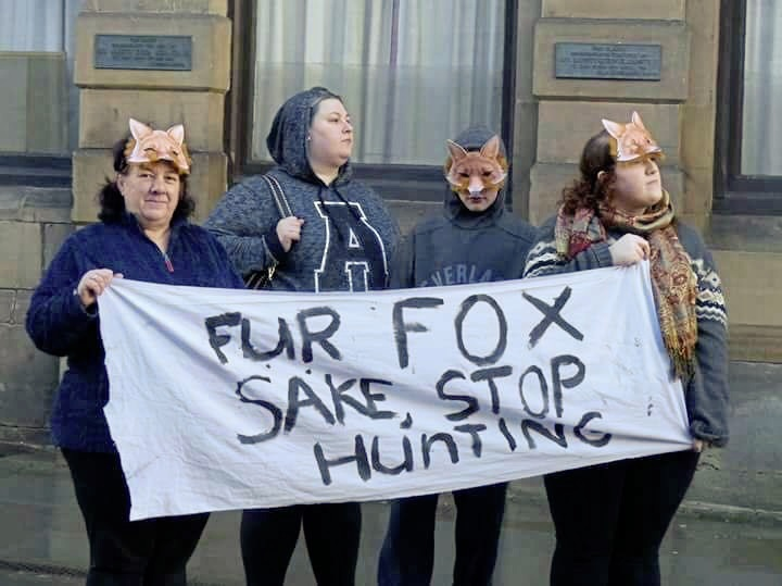 Cllr Heather Chave, left, and protestors at the Welshpool Boxing Day Hunt.