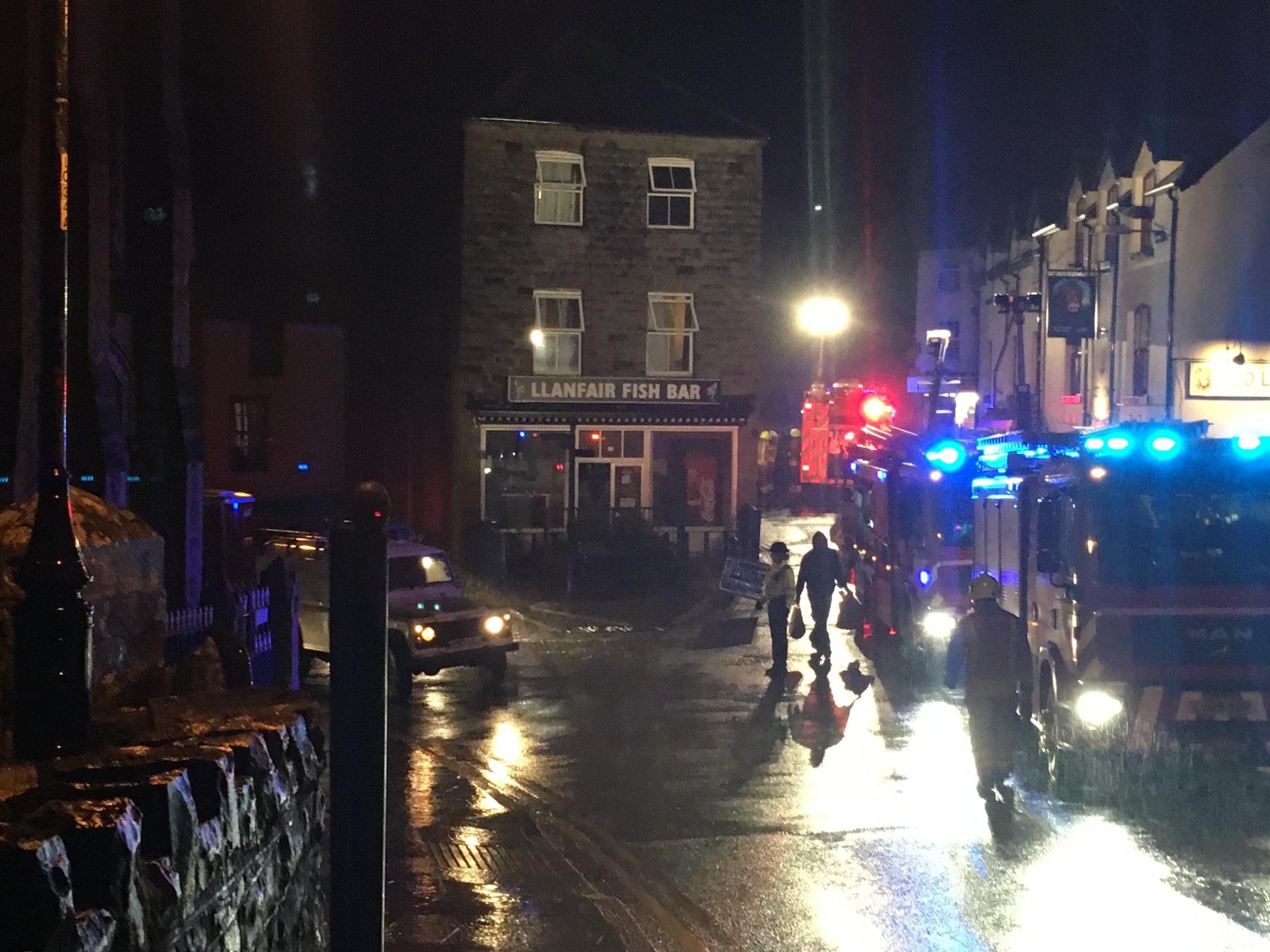 Llanfair Caereinion Town Centre where the Fish Bar Chip Shop was on fire on Thursday evening.