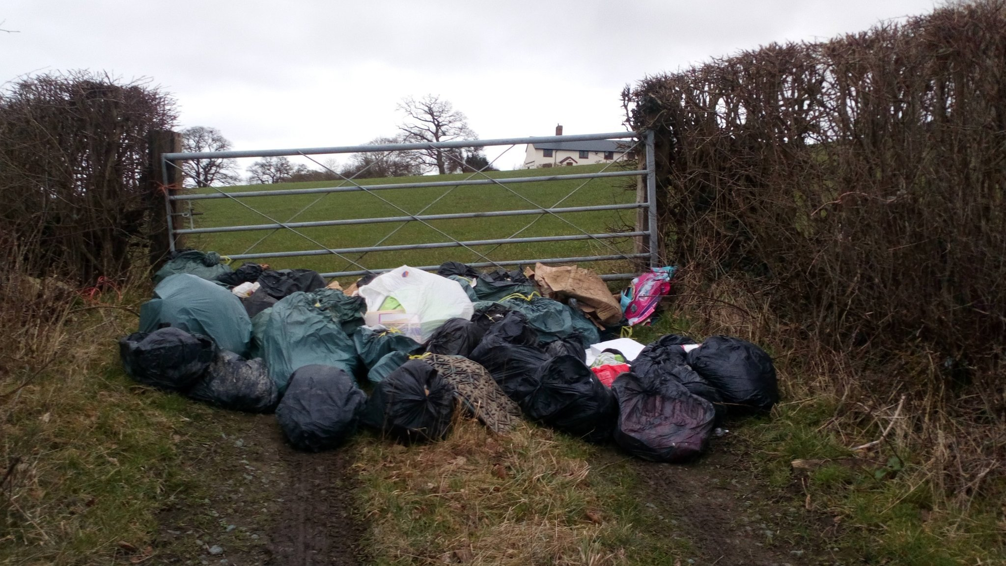 The rubbish which was fly tipped in Leighton, near Welshpool, on February 8