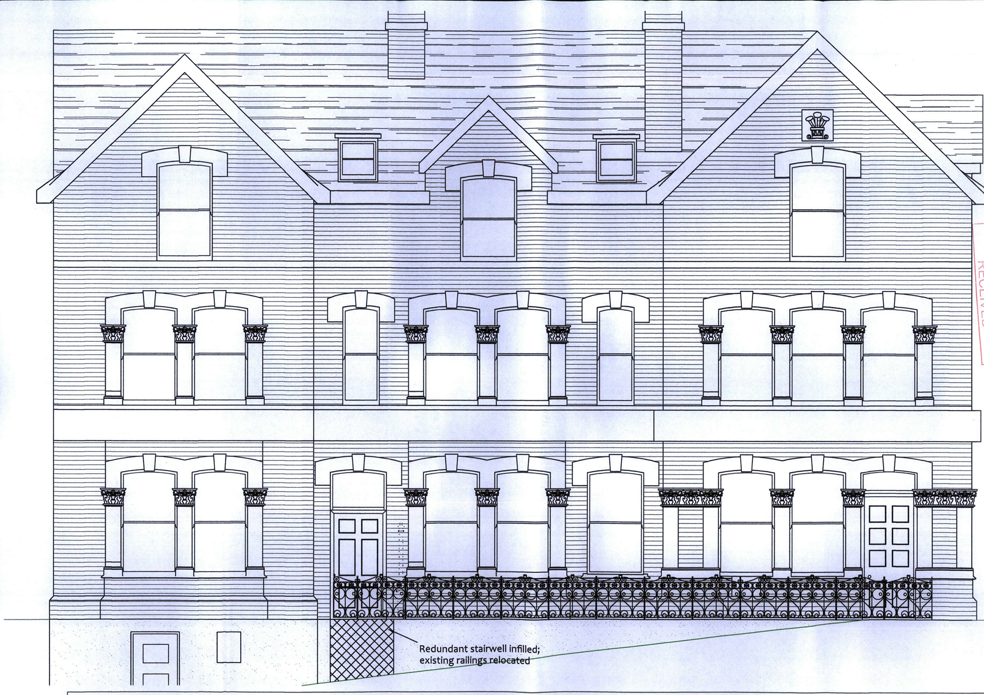 Front elevation of the proposed wine bar on Broad Street, Knighton