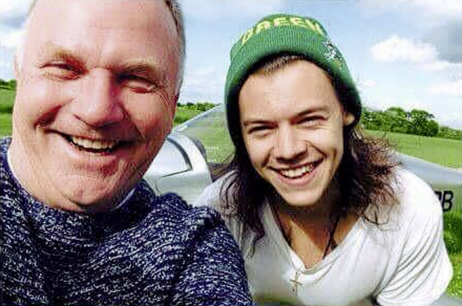 Nick Jefferies with family friend, the pop singer, Harry Styles, and the plane that crashedWALES NEWS SERVICE