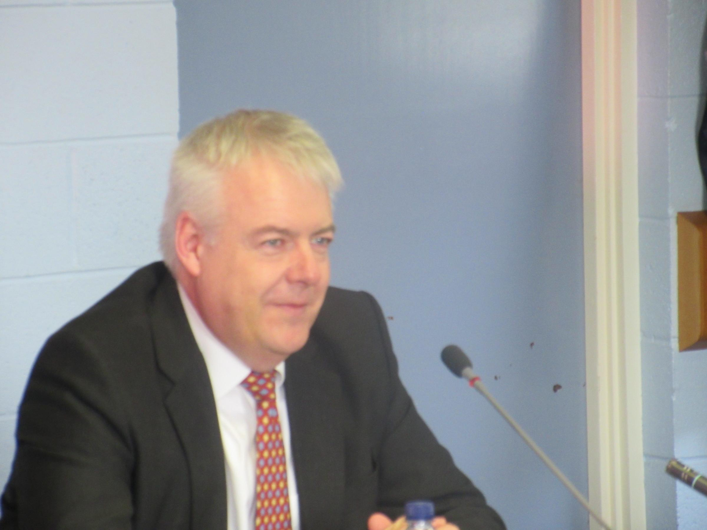 First Minister of Wales, Carwyn Jones, was in Newtown for a scrutiny meeting of the Welsh Assembly.
