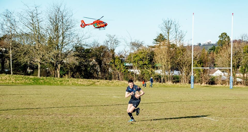 Wales Air Ambulance lands at Maesydre on Saturday. Picture by Oval Zone.