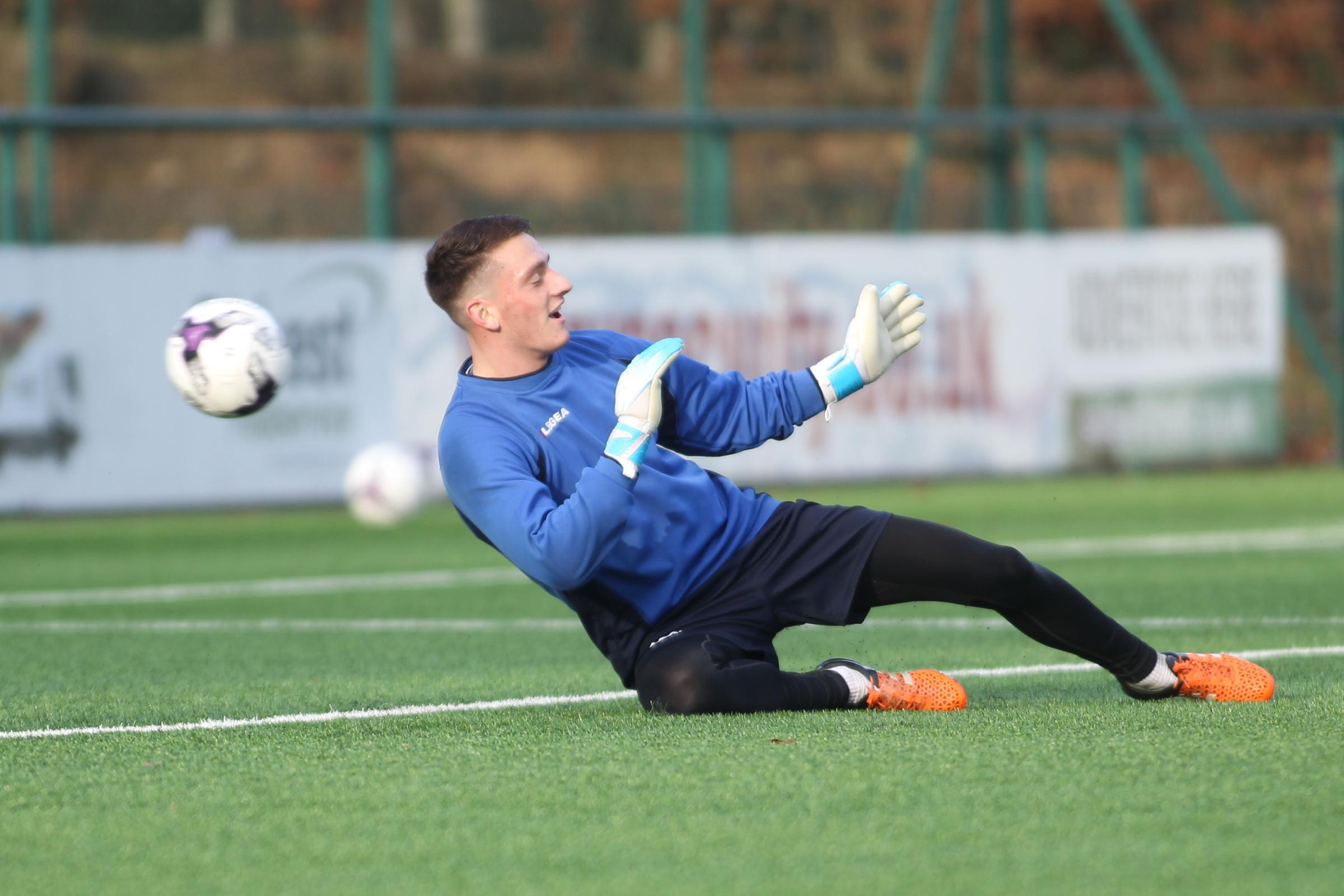 Andy Wycherley of TNS FC trains at Park Hall ahead of the Dafabet Welsh Premier game with Connahs Quay on Friday, December 16, 2016.Picture: Mike Sheridan for the County TimesMS309-2016-5