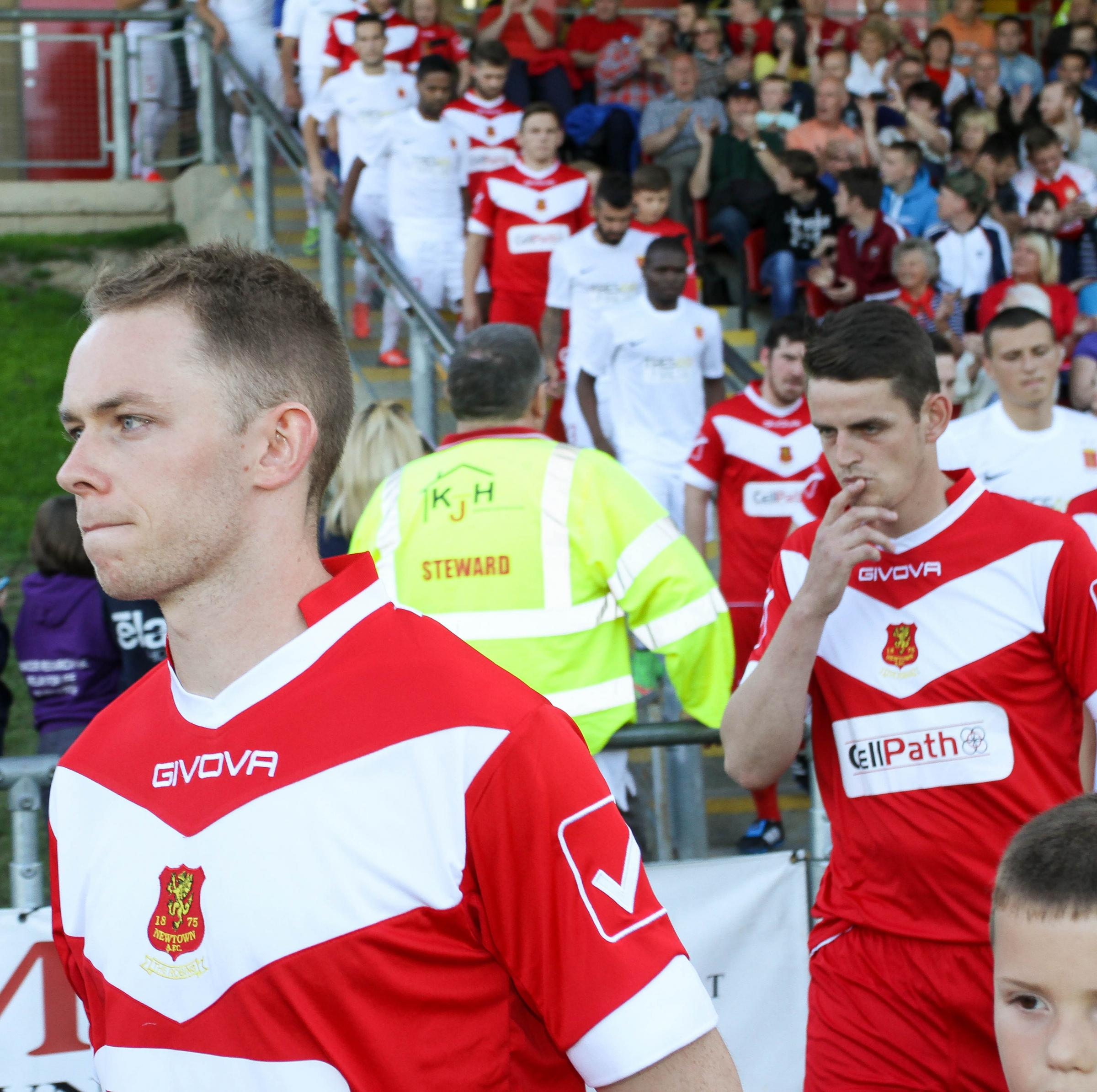 Picture by Rob Davies.UEFA Europa League, first qualifying round: Newtown v Valletta.Pic is. Craig Williams walks onto Latham Park pitch on Thursday evening when the Robins took on Valletta in the UEFA Europa League.RD249_2015-6