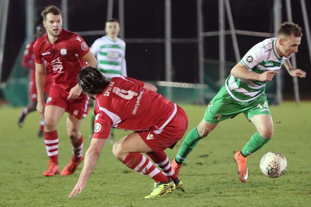 Action from TNS' JD Welsh Cup defeat at Connahs Quay Nomads. Picture by CQN.