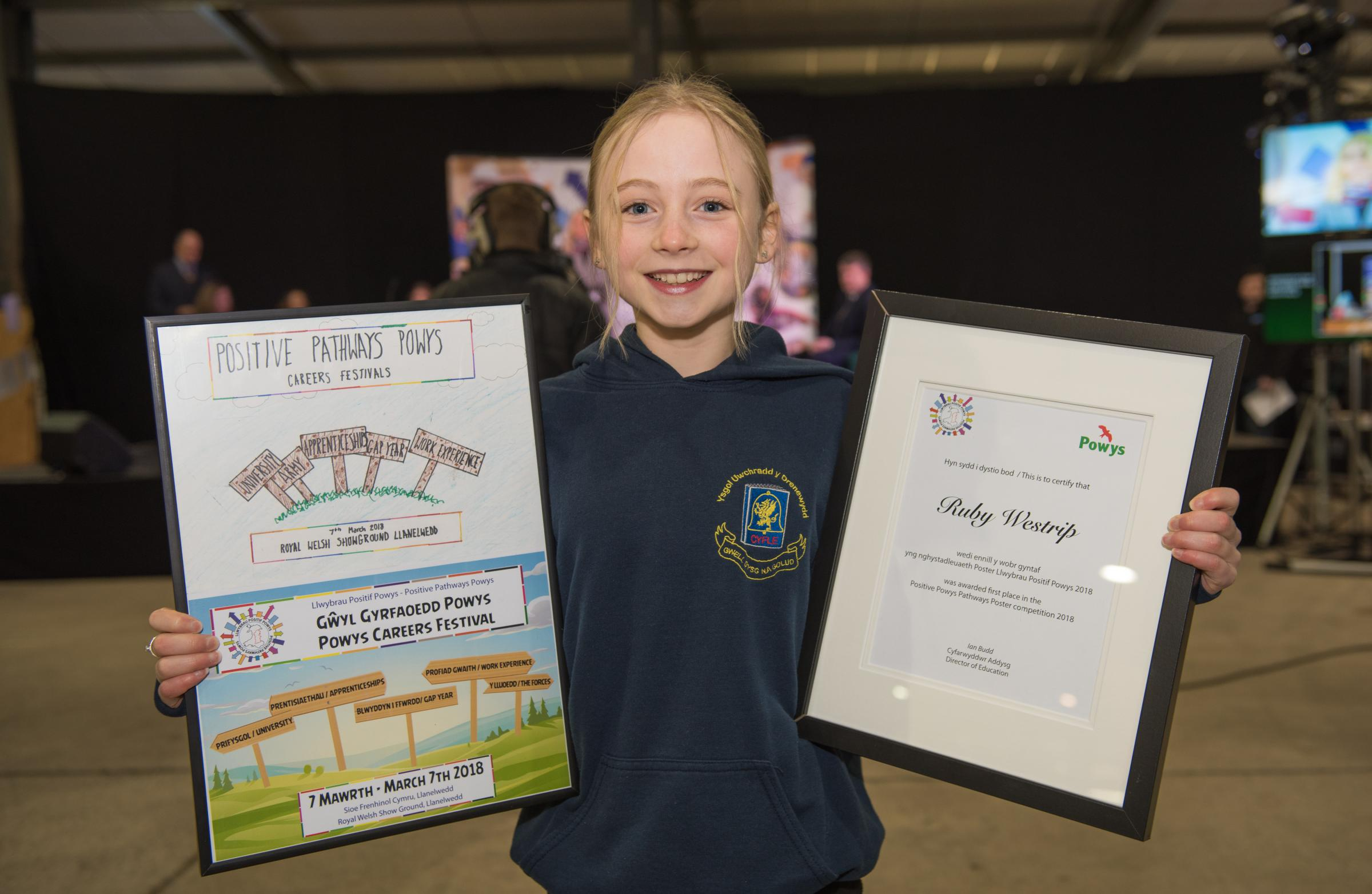 Ruby Westrip with her winning design and certificate.