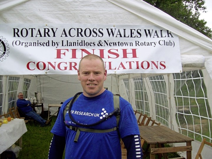 At the finish of the Rotary Across Wales Walk.