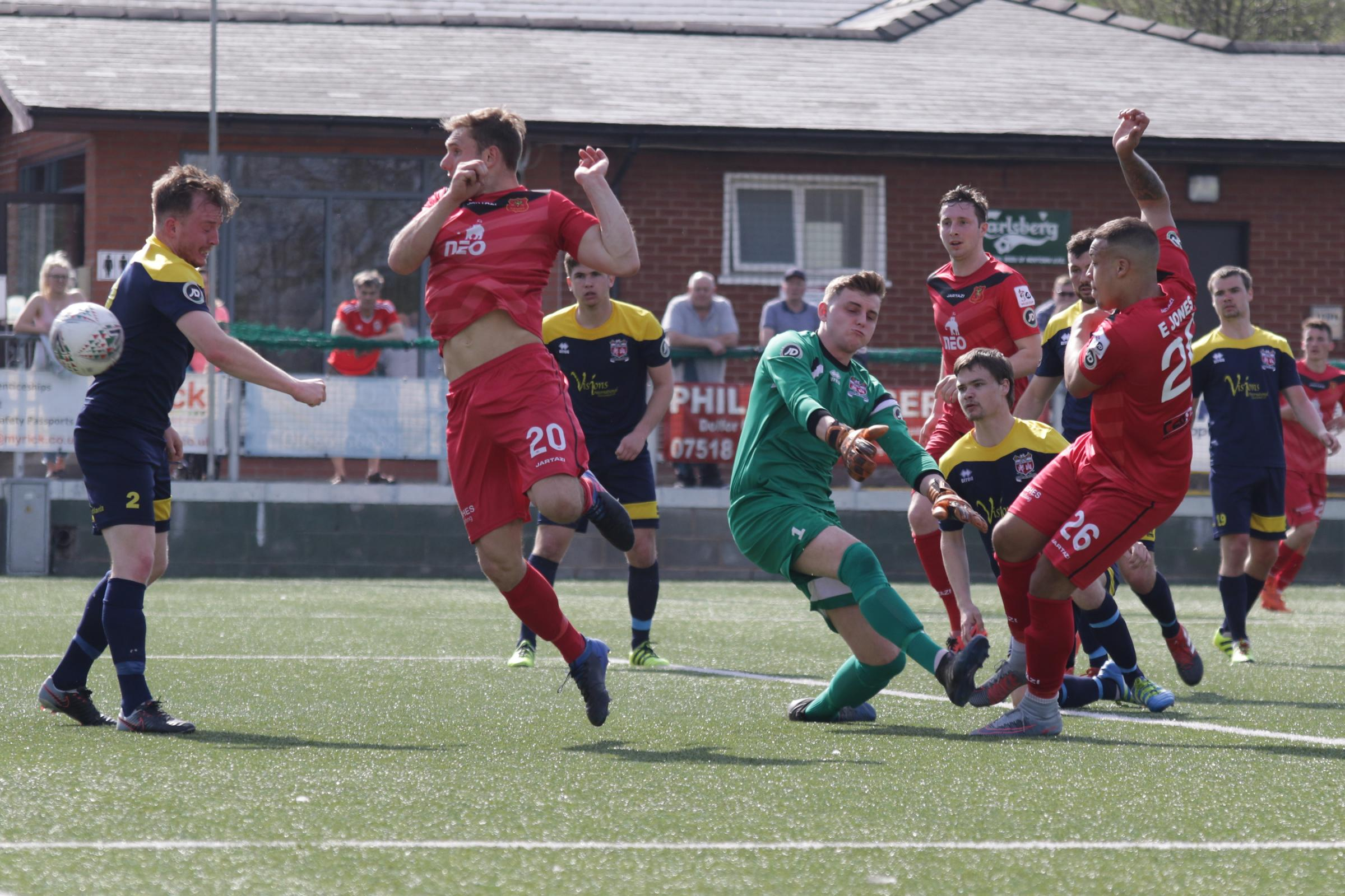 21/4/2018 - GOAL. Ethan Jones of Newtown scores to make it 2-0 during the Welsh Premier League game between Newtown and Prestatyn at Latham Park...Pic: Mike Sheridan/County Times.MS085-2018.