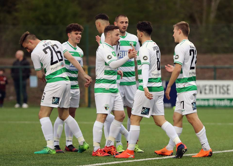 TNS players celebrate a goal against Cardiff Met (Brian Jones)