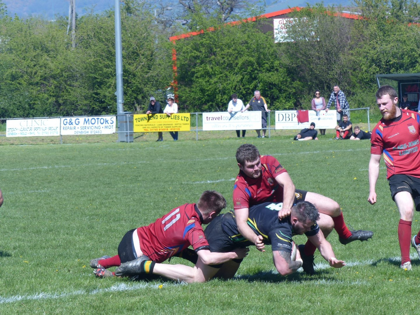 Action from Llanidloes' defeat at Dinbych. Picture by Gary Williams.