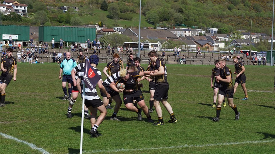 Iwan Mills in action for Builth Wells in the Blues Youth Cup semi-final in Treorchy. Picture by Ann Lawrence.