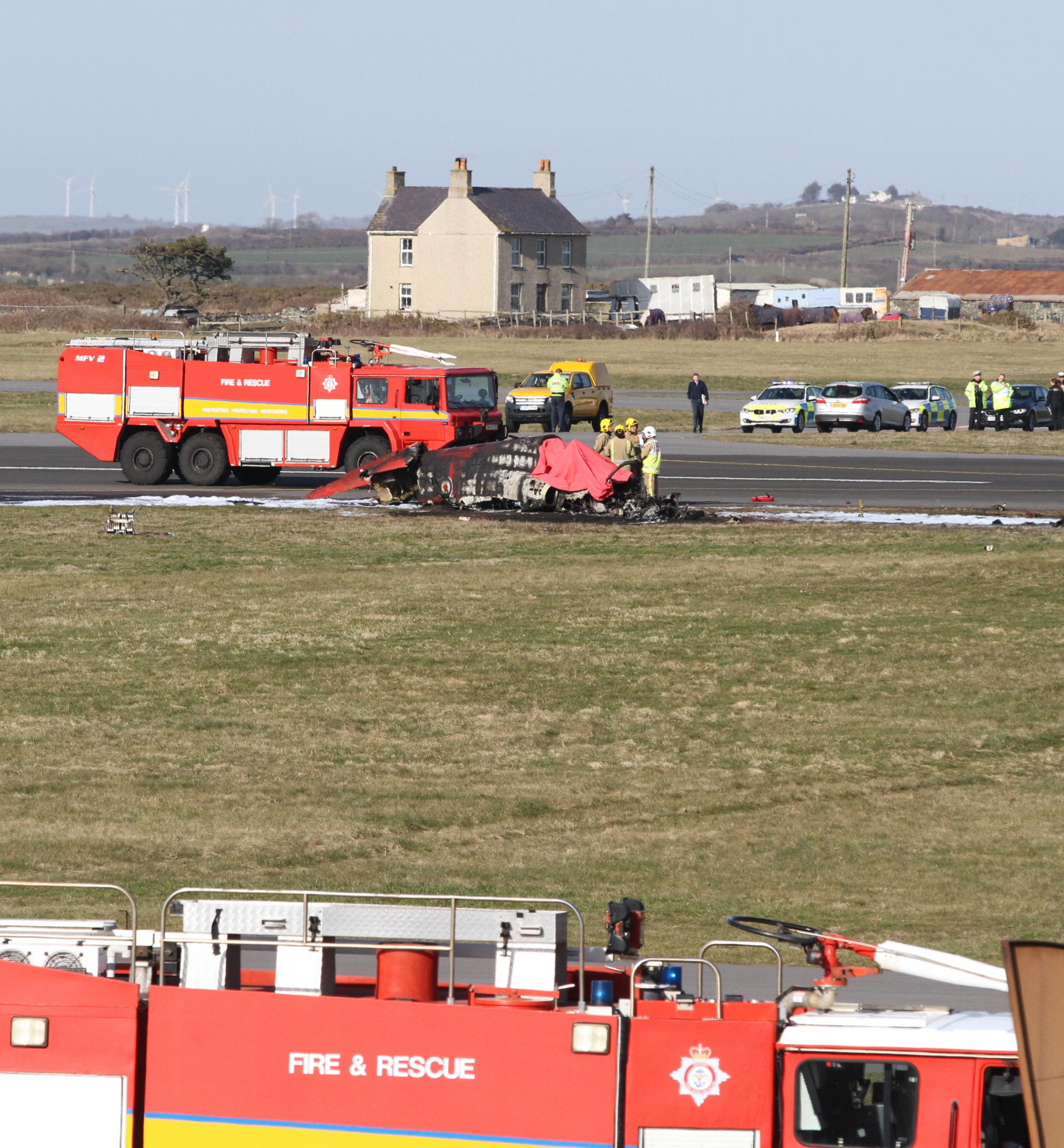 Red Arrows plane crash at RAF Valley, Anglesey..Pic Kerry Roberts.KR200318c.