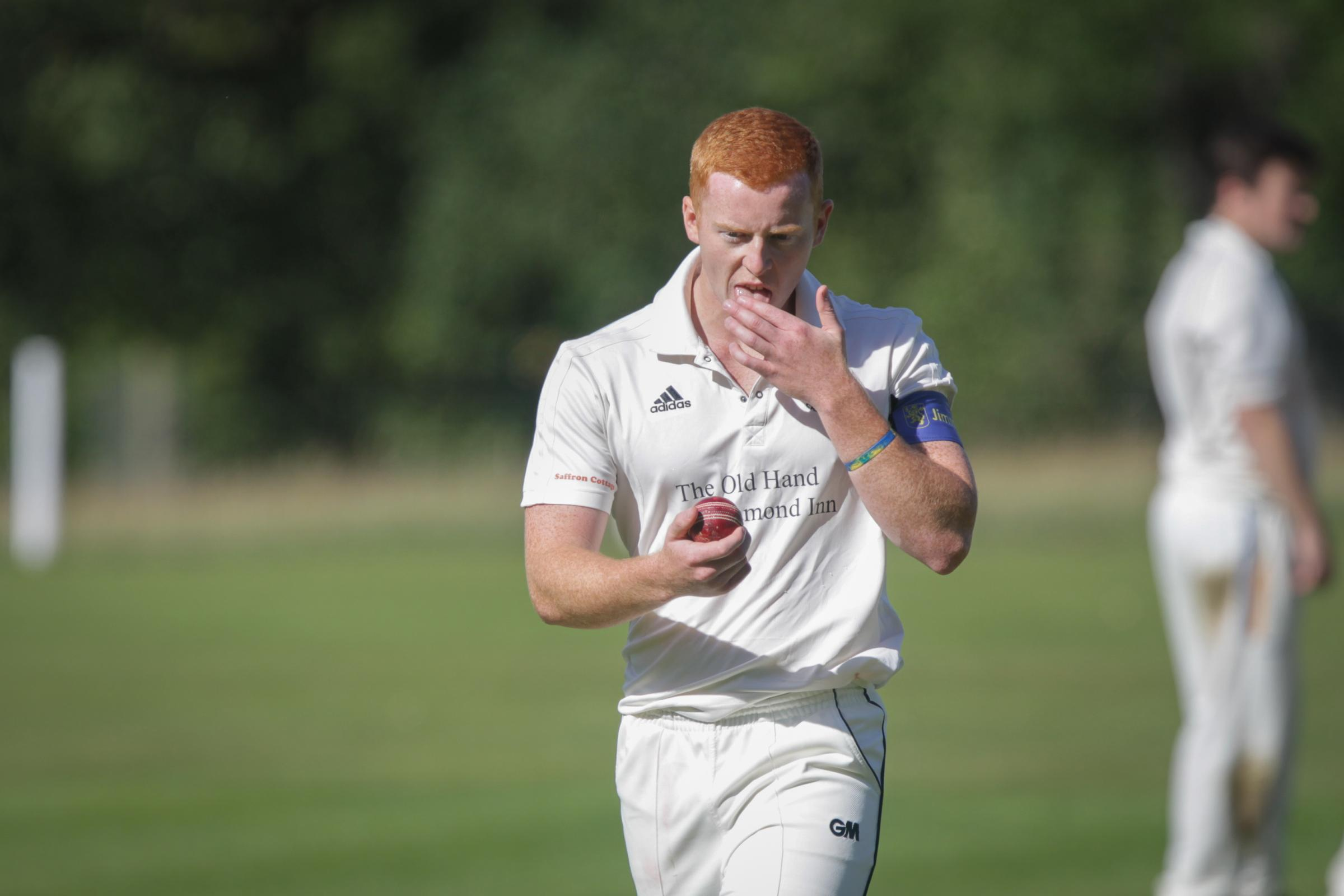 Alberbury's Sam Morris, who took 3/20 during the Henshalls Shropshire League Cricket match between Montgomery and Alberbury at Lymore on Saturday, August 5, 2017...Pic: Mike Sheridan/County Times.MS631-2017.