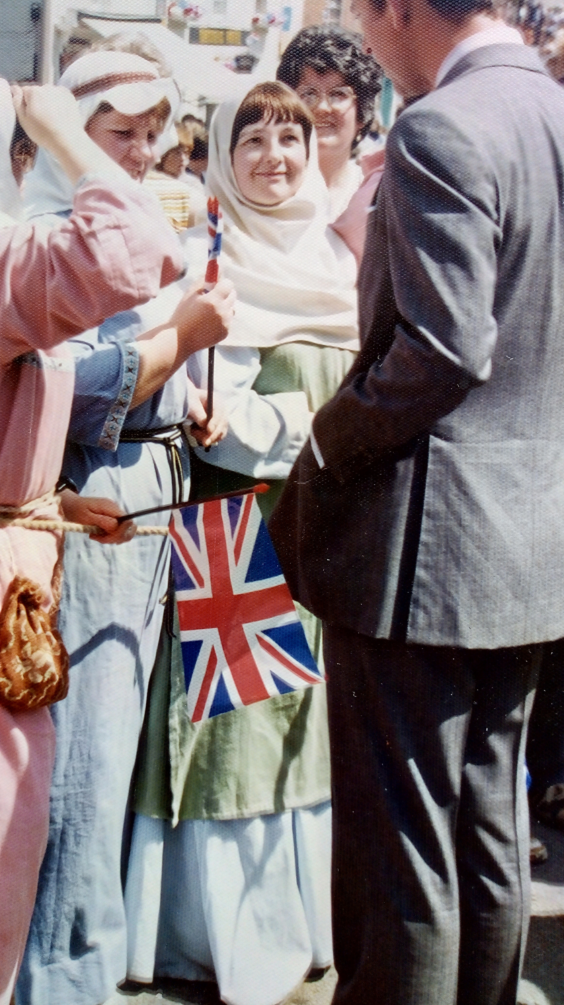 Jean Higgs and Pat Burd talking to Prince Charles in Montgomery while celebrating the Queens 25th anniversary 1977.