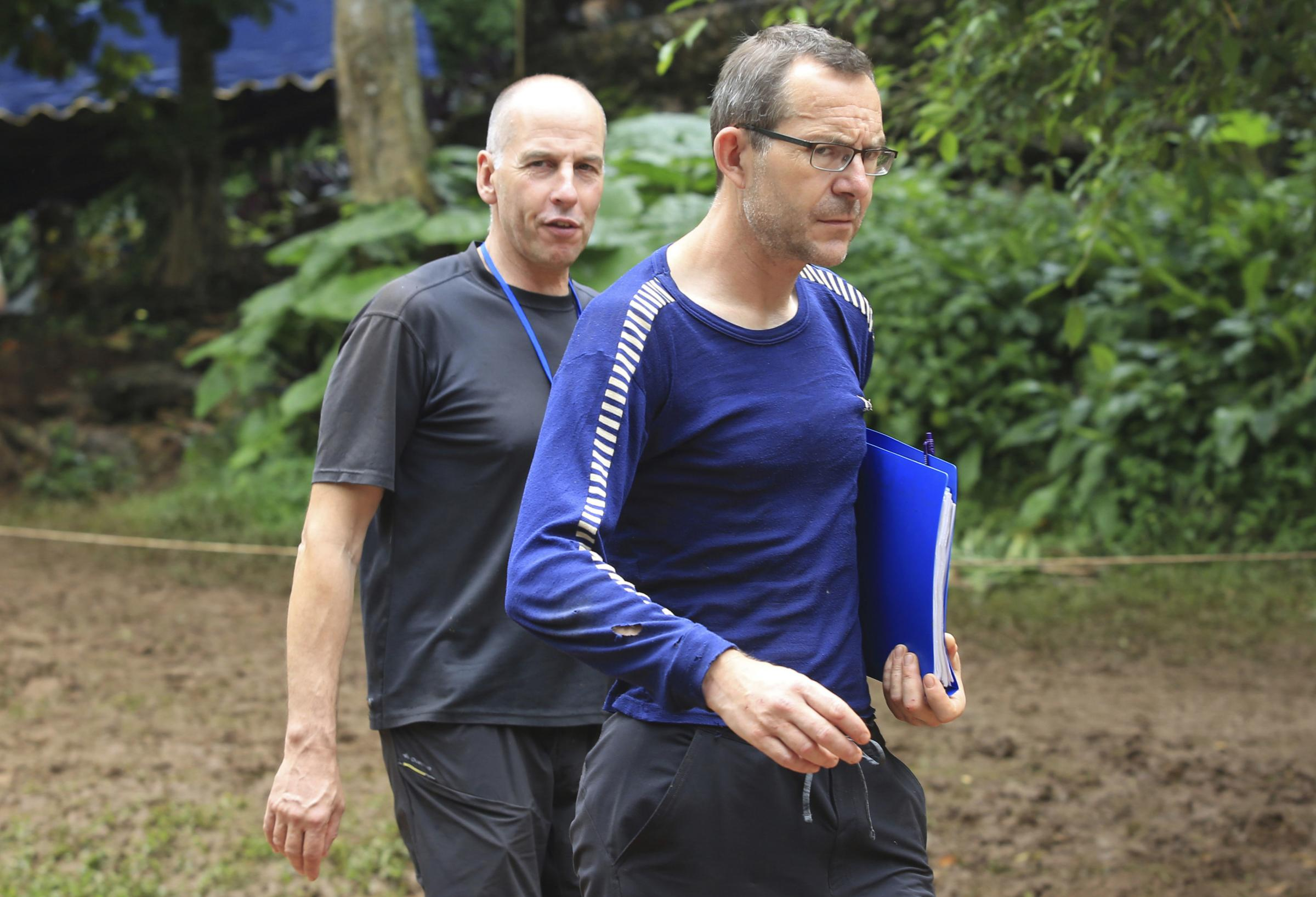 Richard Stanton, left, and John Volanthen arrive in Mae Sai, Chiang Rai province, in northern Thailand, Tuesday, July 3, 2018. (AP Photo).