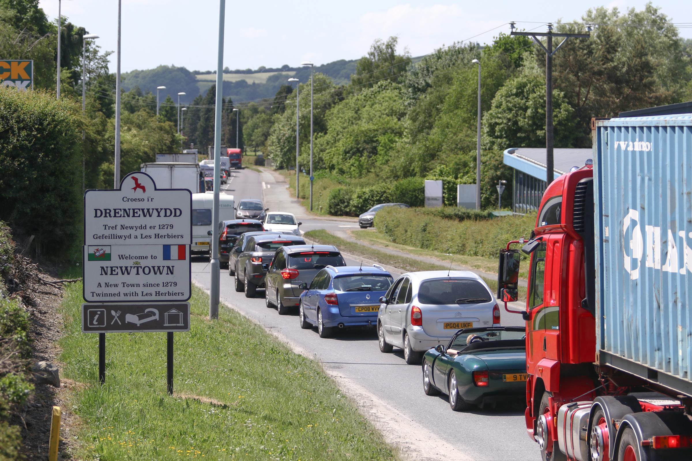 Traffic congestion on the A483 approaching Newtown, Powys, a notorious traffic jam blackspot.Mike SheridanMS527-2017