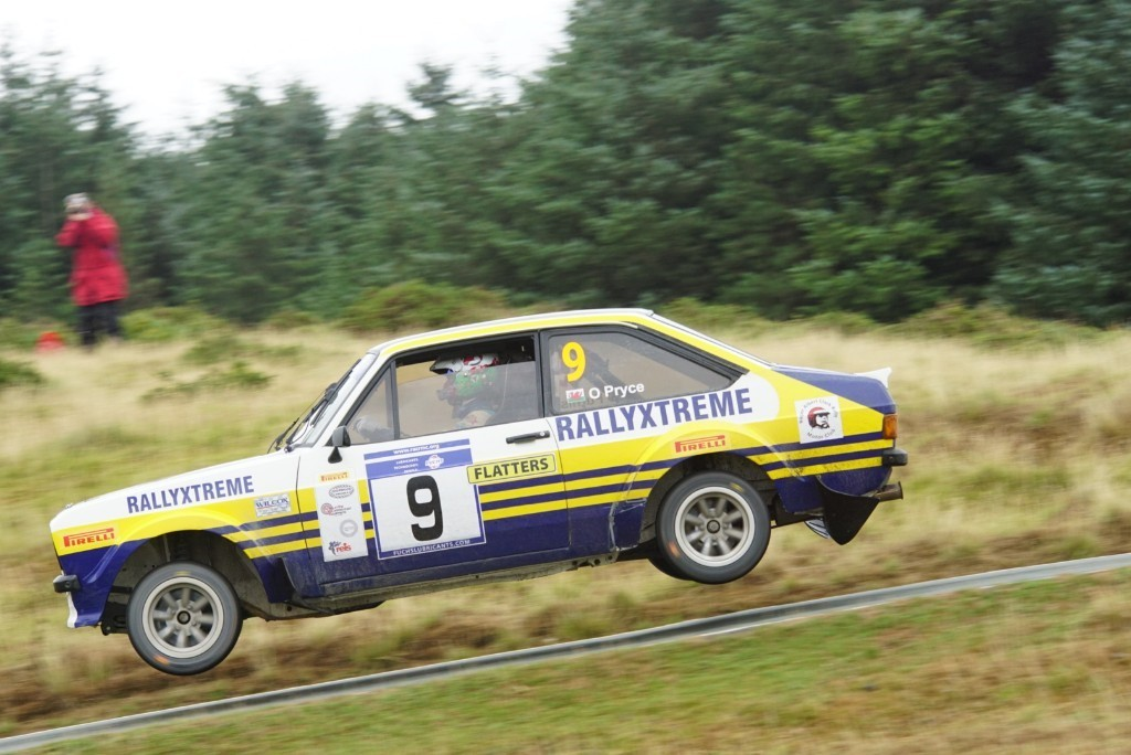 Osian Pryce and Dale Furniss in action at the Harry Flatters Rally in Epynt.