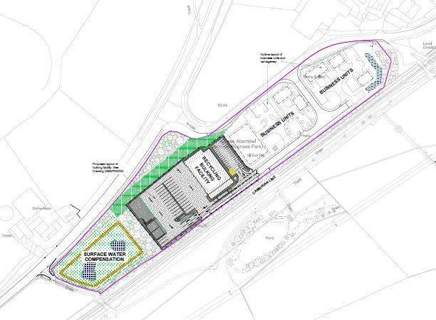 Plans for the recycling centre in Abermule