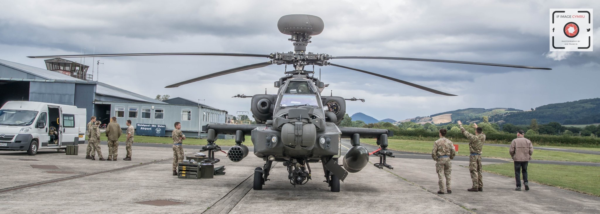 The multi-million pound Apache helicopter landed at Welshpool Airport on August 10. [Ian Francis/IF Image Cymru]