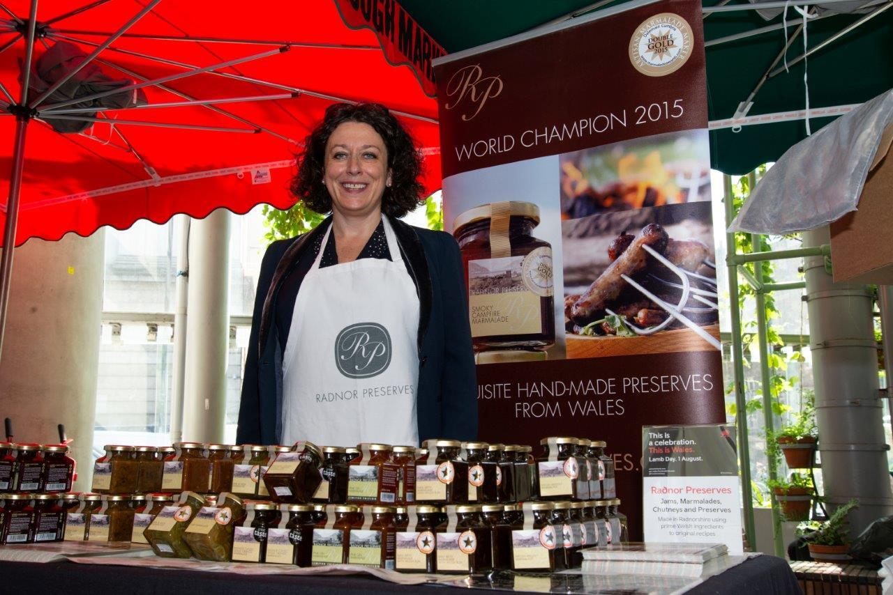 Joanna Morgan of Radnor Preserves showcasing her products at Borough Market to promote the start of the Welsh Lamb season.