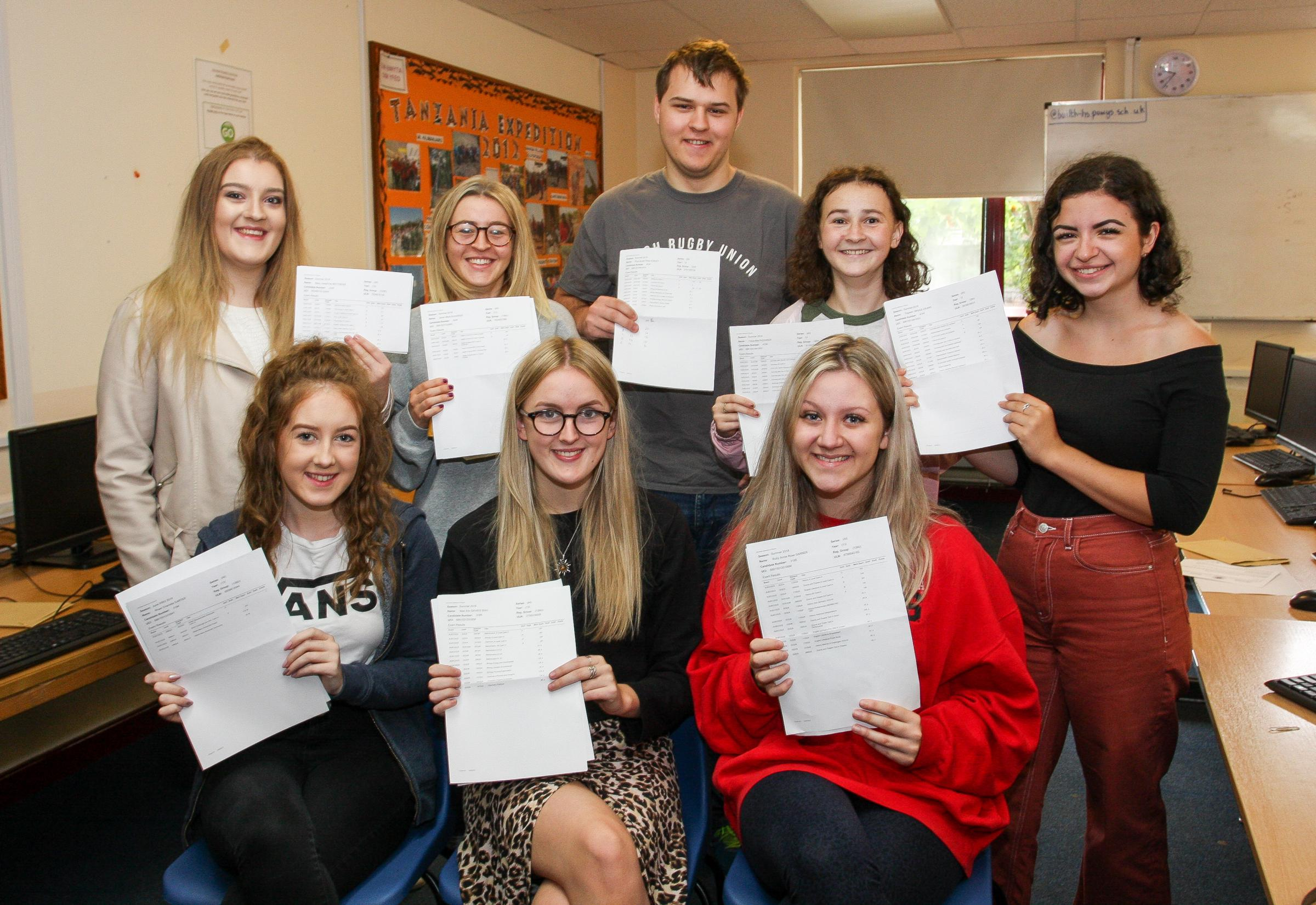 All smiles from students at Builth Wells Hugh School after they  collected their A Level results. They include  Mary Matthews, Rhael Carter, Elin Davies, Ruby Garner, Seren Richards, Prys Eckley, Freya  Richards and Tegwen Bruce- Deans.