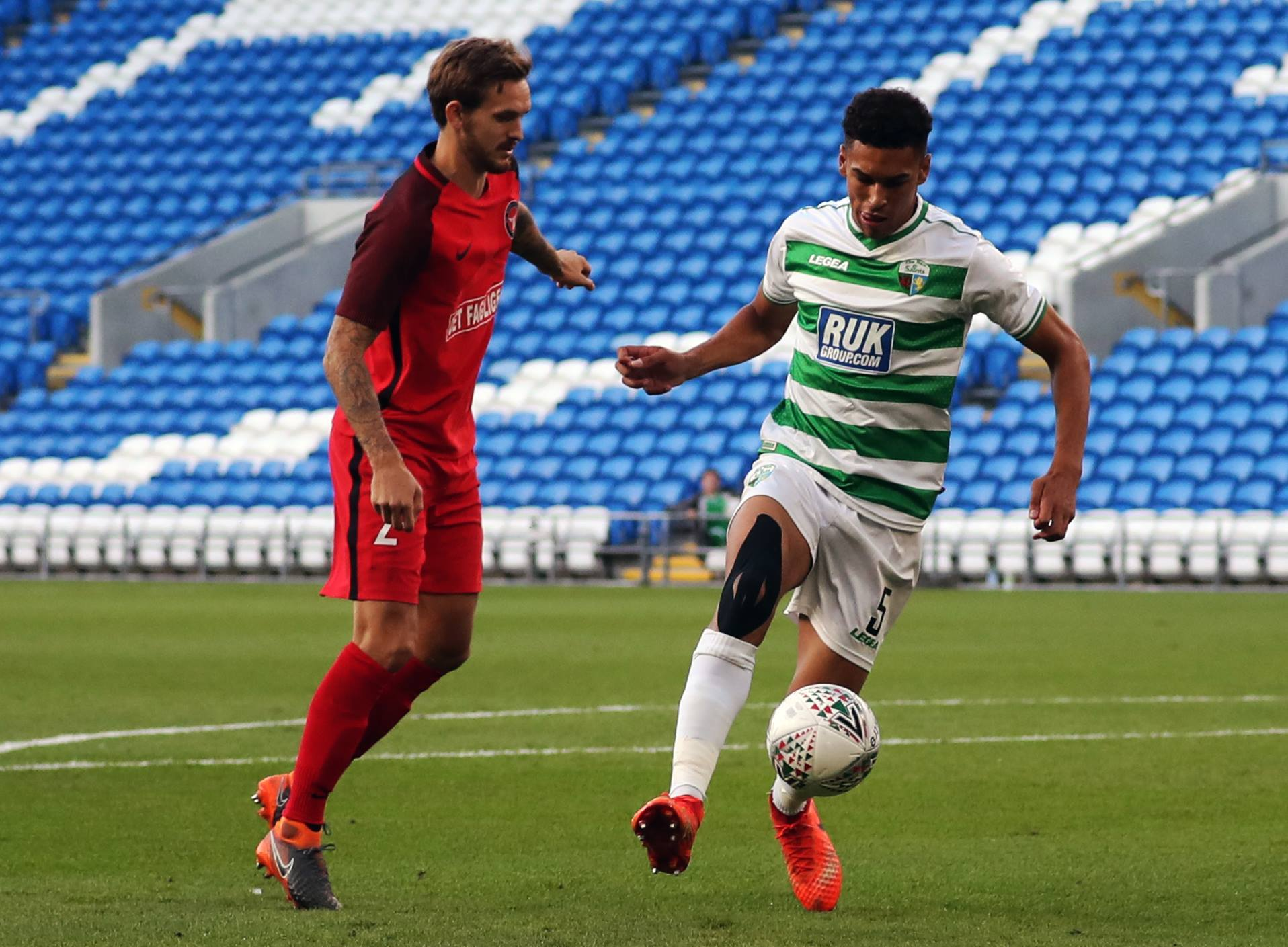 Action from TNS' first leg clash against Midtjylland.