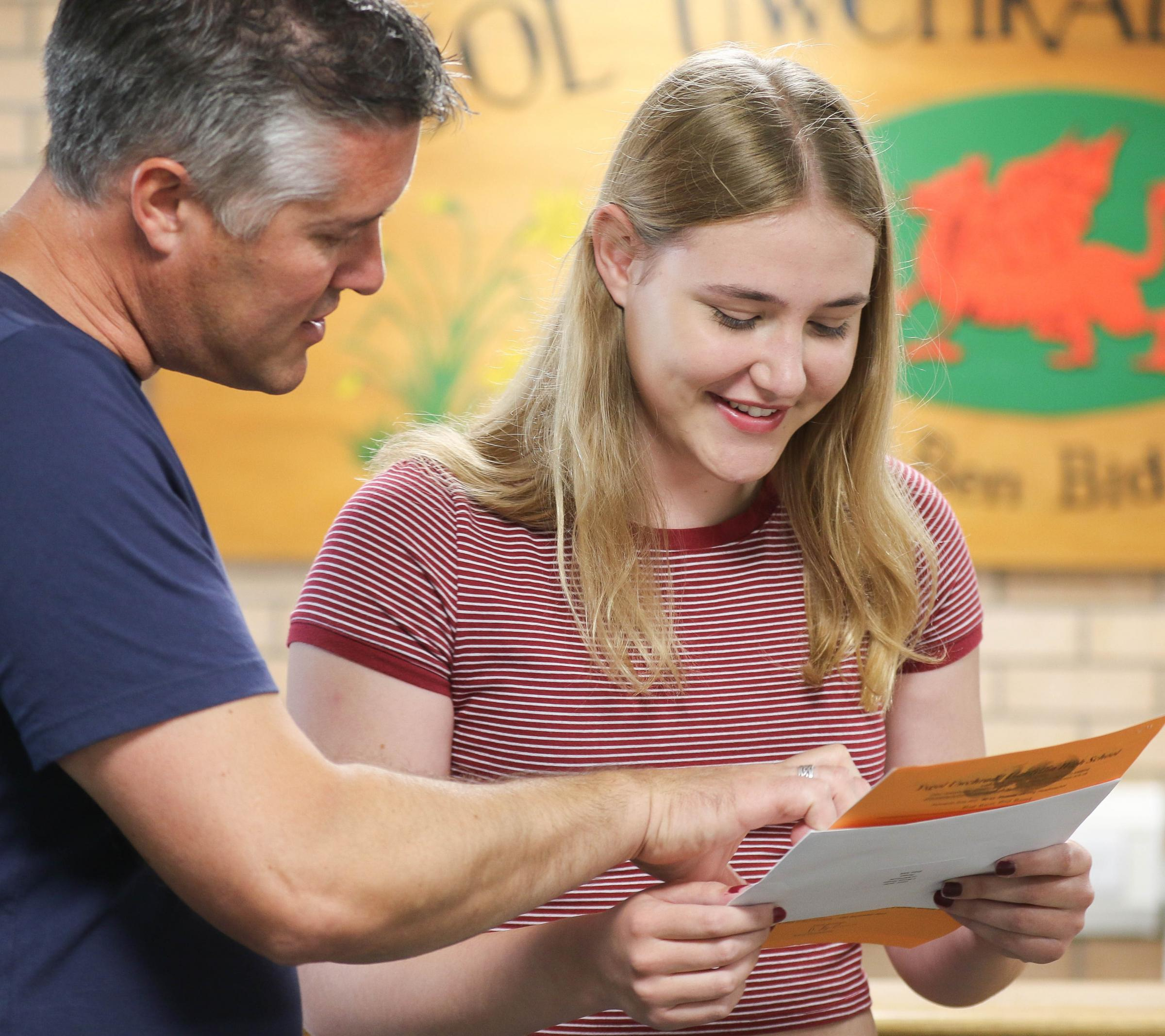 PB324-2017-7.GCSE Results day at Llanfyllin High School.pictured is Leah Jacks with 3 x A*'S, 3 x A's and 1 x B's).Picture by Phil Blagg.PB324-2017-7.