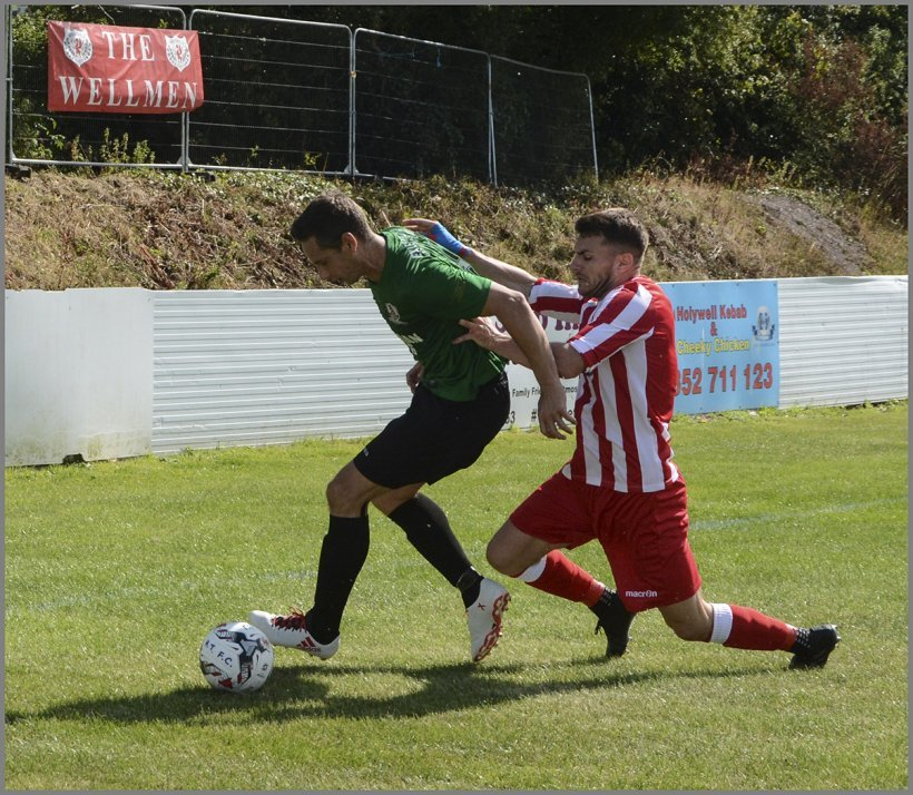 Sion James in action for penrhyncoch at Holywell Town. Picture by Steve Roberts.
