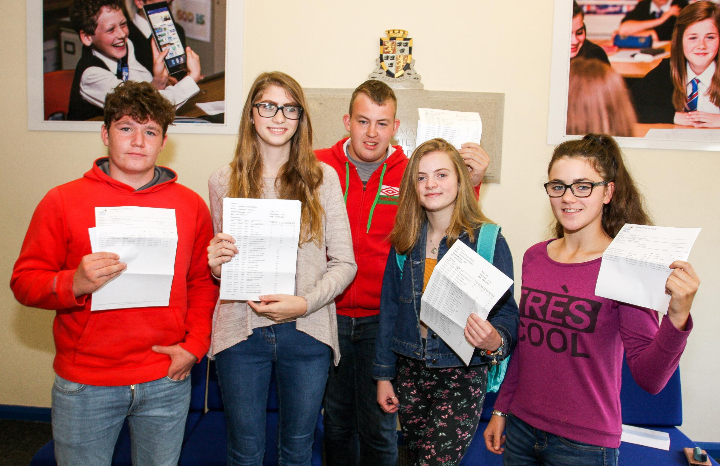 Students at Llandrindod High School were amongst the hundreds of students that collected their GCSE results this week. This group include Cheyenne Hughes, Anja Knox, Ben Williams, Joey Lloyd and Megan Brain. Photograph by Ernie Husson.