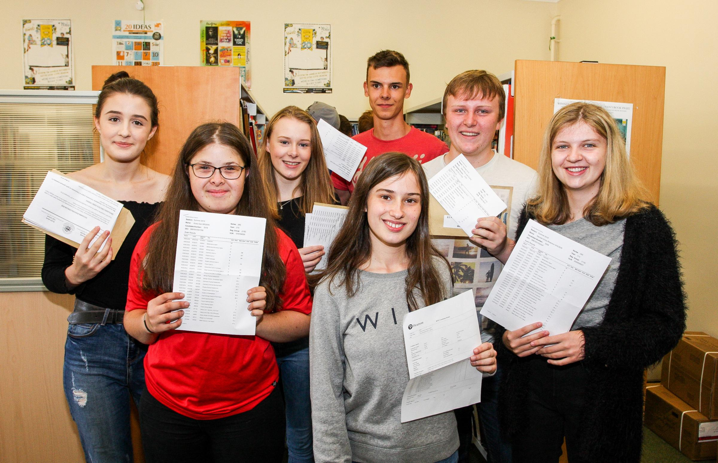 Happy smiles from students of Builth Wells High School after they collected their GCSE Results on Thursday morning. They include Chloe Morris who gained elevan A Stars as her results, Hannah Moscrop -Cross, Cerys Greason-Watker, Jake Shufflebottom, Owen C