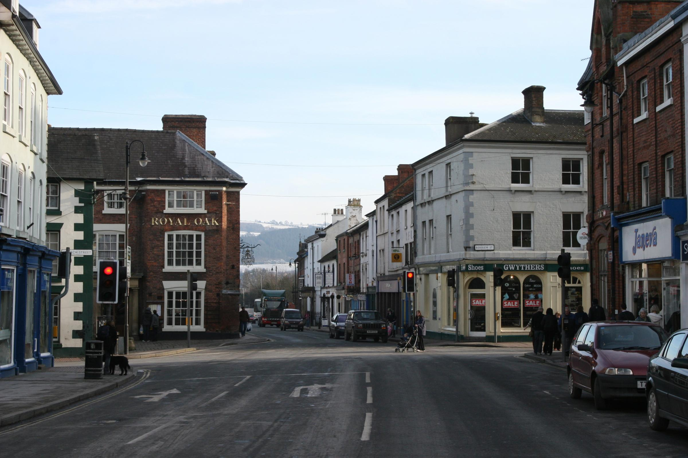 The A458 in Welshpool town centre