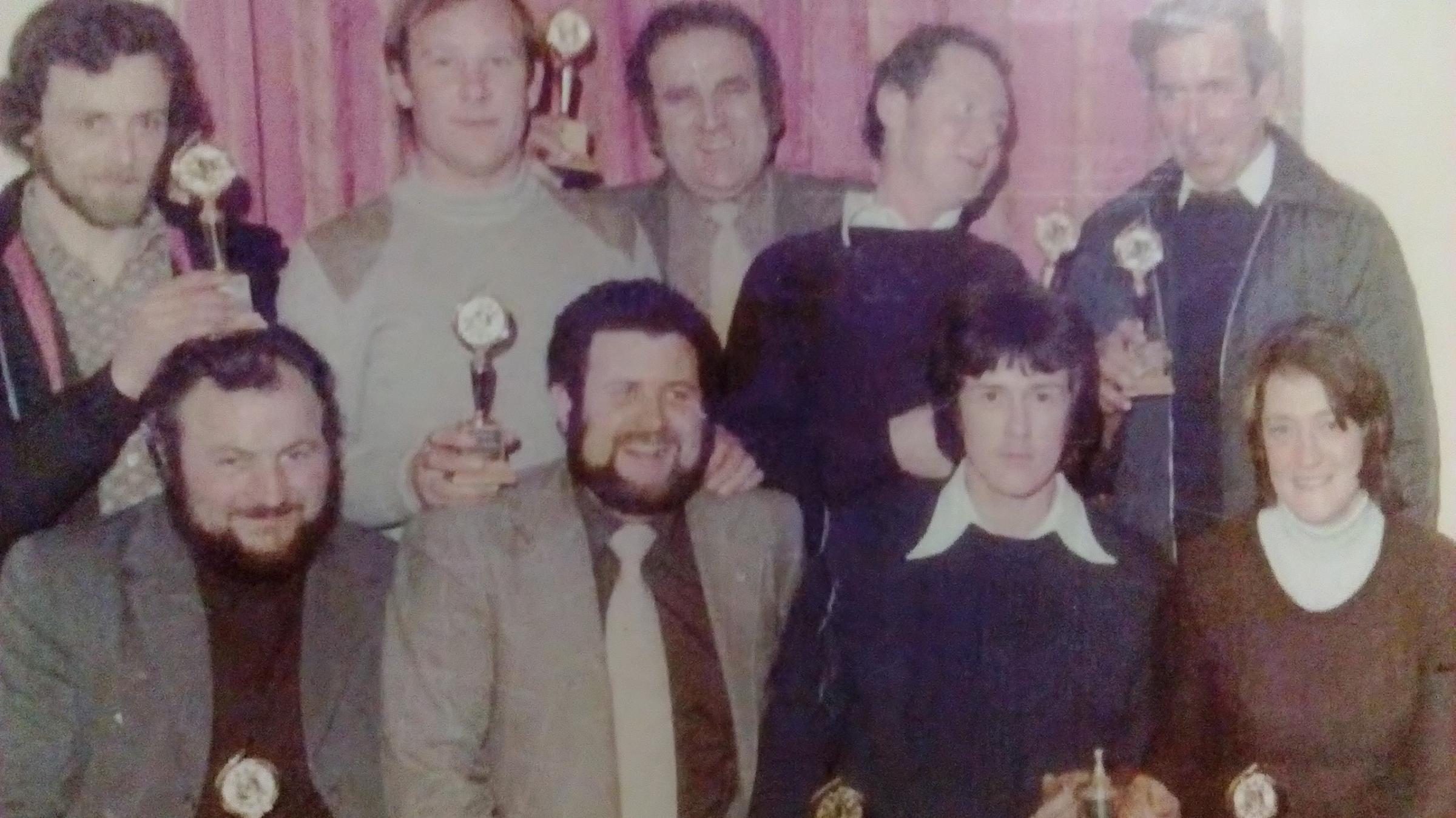 The Bricklayers Arms, Montgomery, winners of the Montgomery League dominoes knockout in 1978/79.