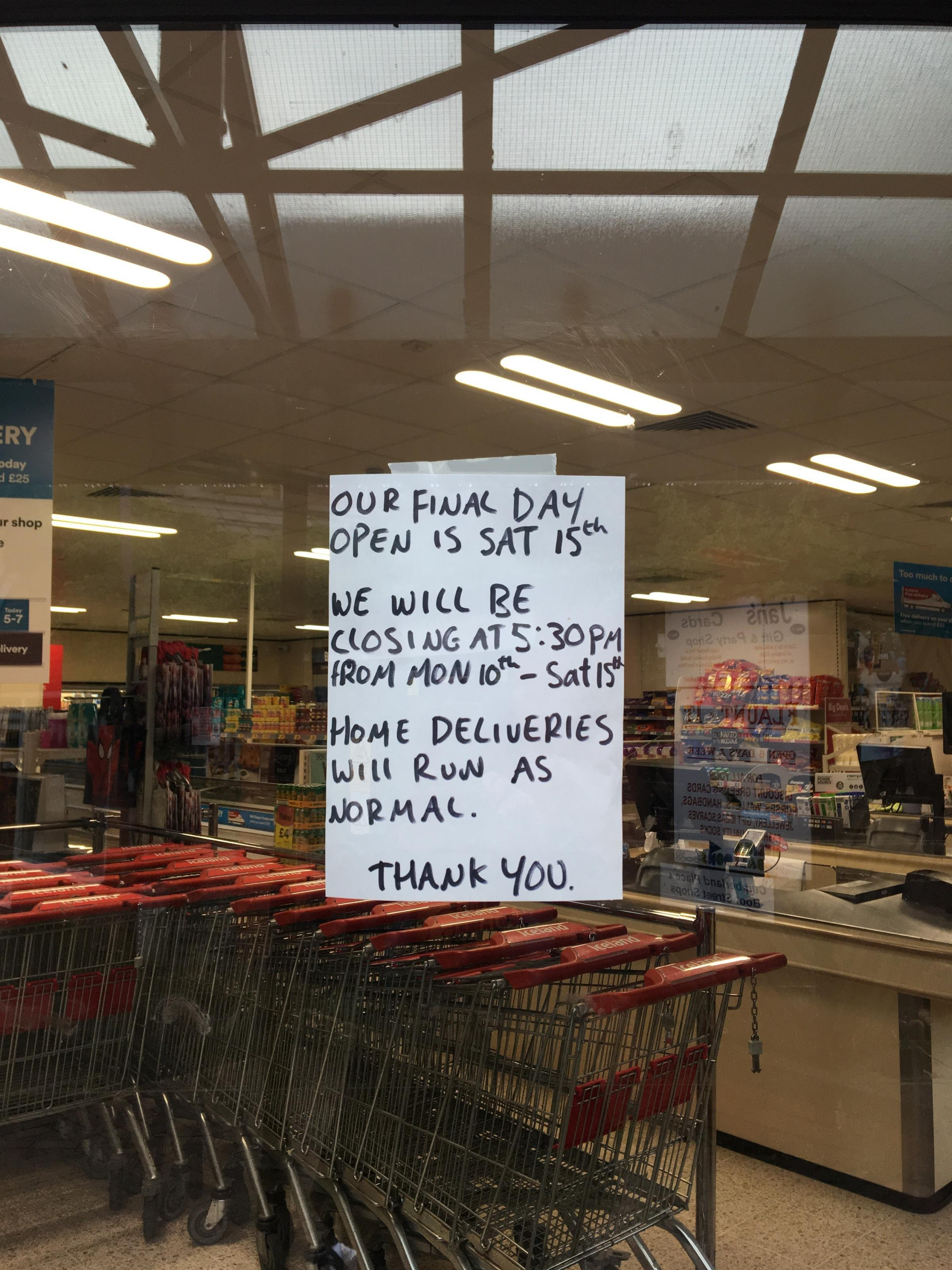 Farewell message on the window of Iceland in Welshpool