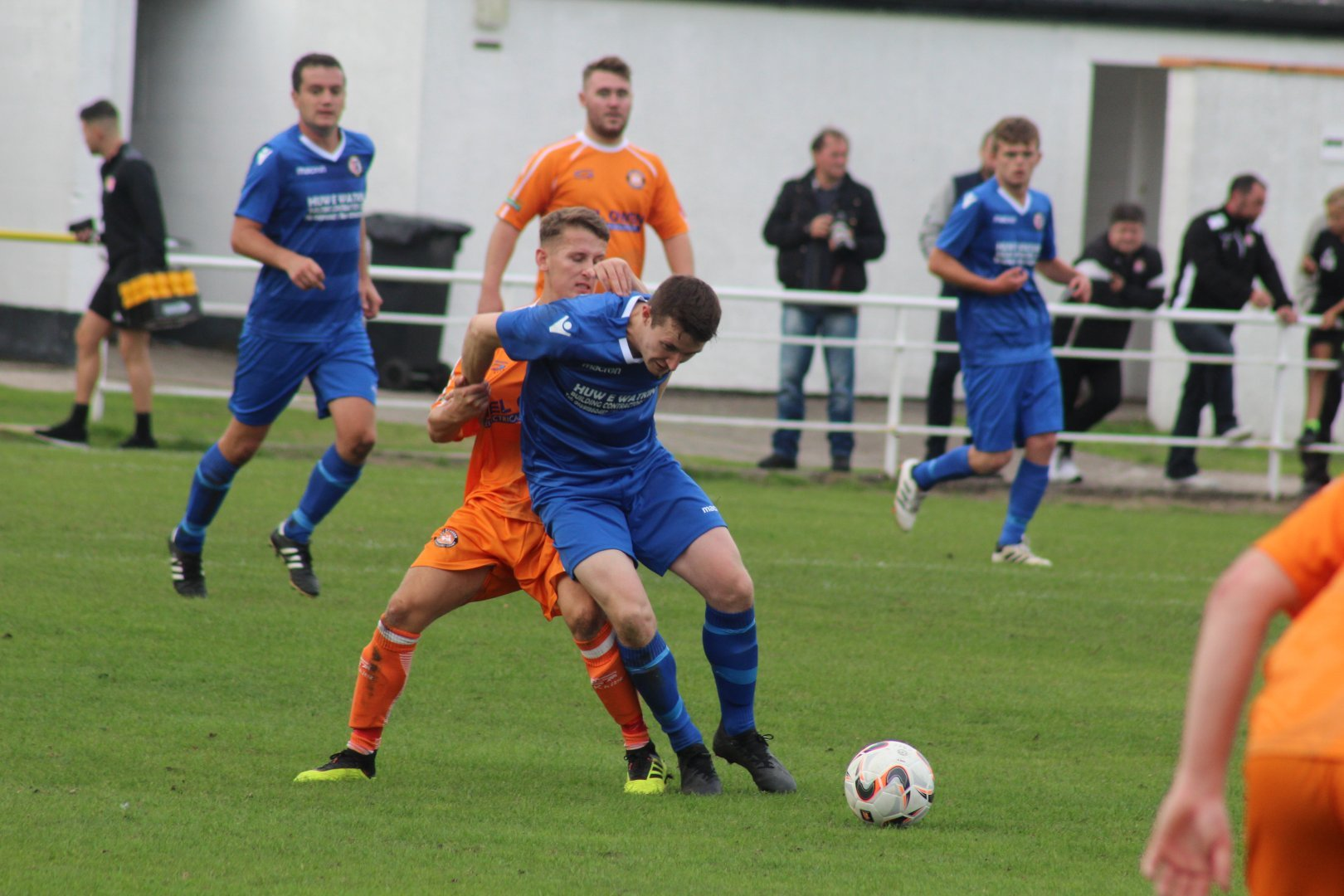 Iain Edmunds in action for Llanrhaeadr at Conwy Borough.