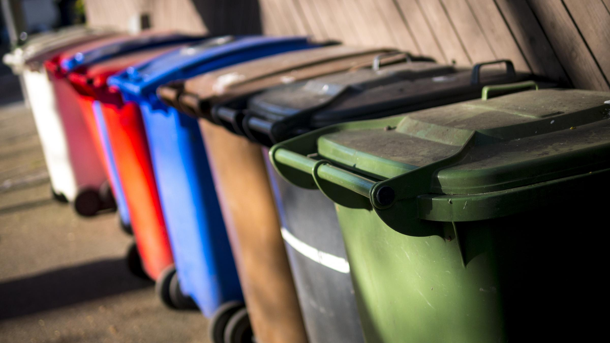 Wheelie Bins for Recycled Rubbish.