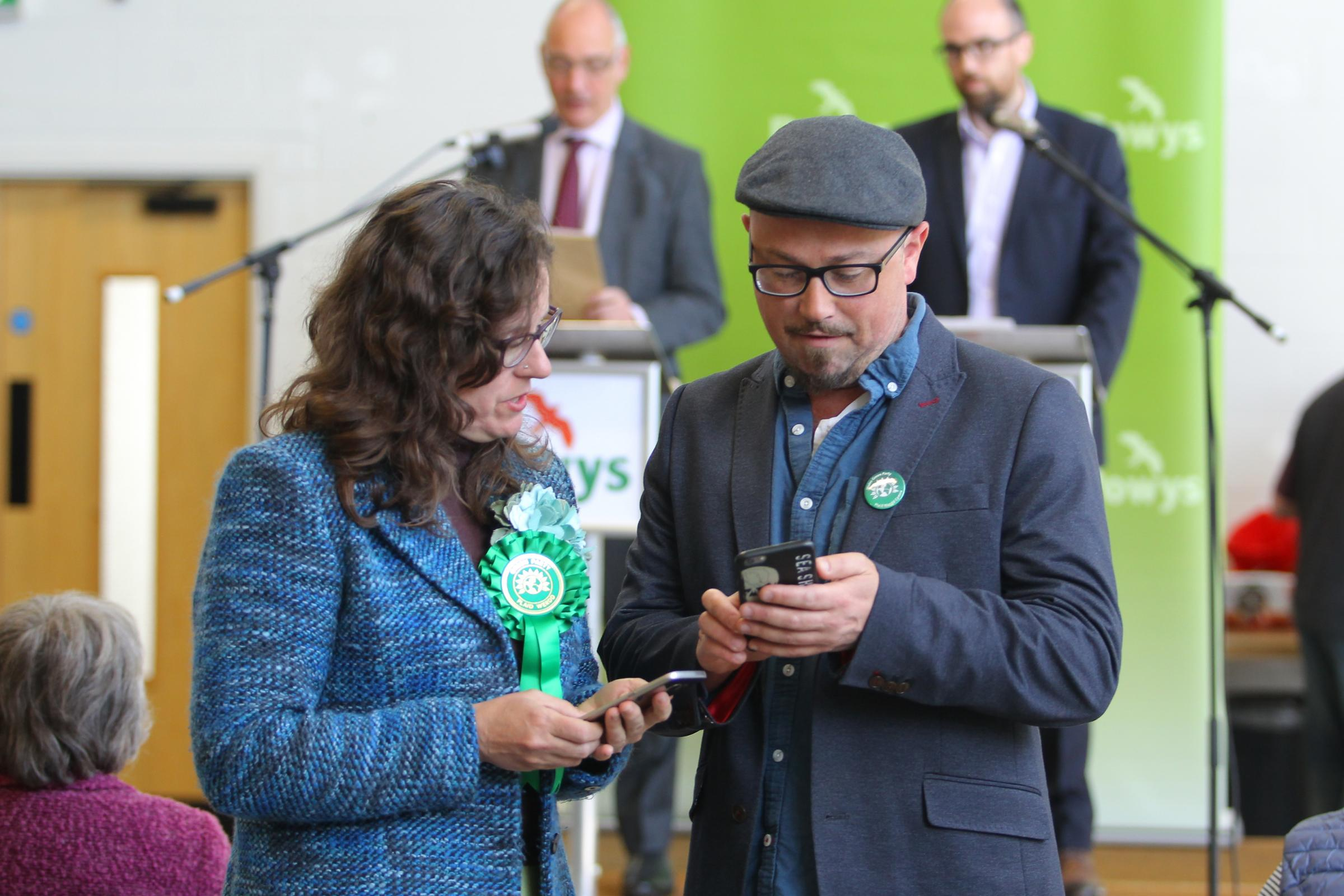 5/5/2017 - Grenville Ham(right), former leader of the Wales Green Party, at the local election count and results for Powys at Builth Wells Showground, on Friday, May 5, 2017.Pic: Mike Sheridan/County Times